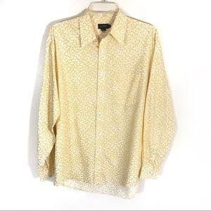 J Crew mens floral print button up shirt yellow